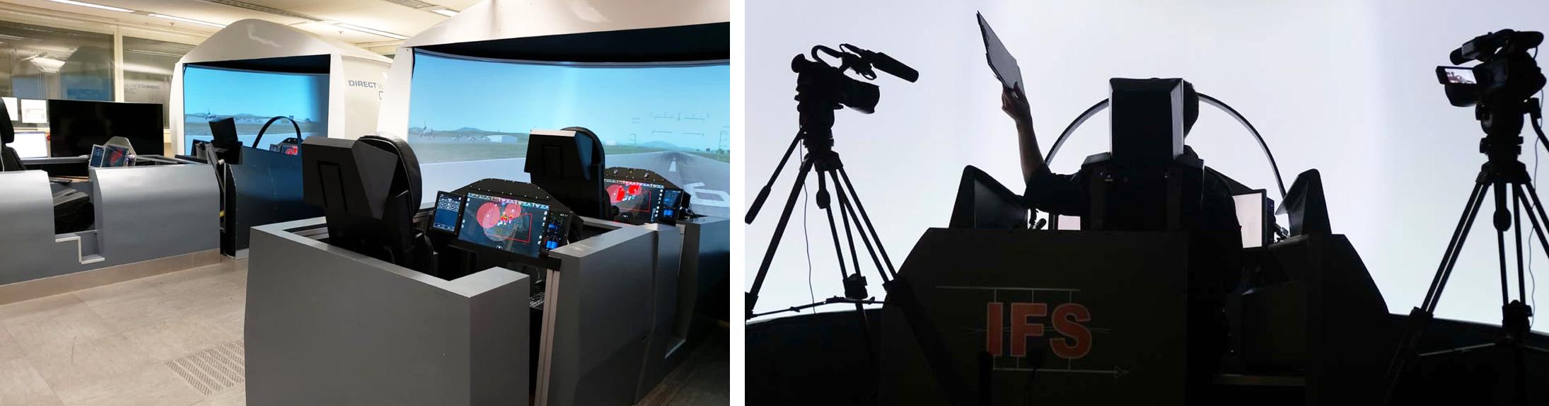 Zwei Fotos zu Untersuchungen von Missionstechnologien in der Simulation und im Flugversuch